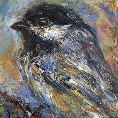 Black-capped Chickadee by Judy Volkmann Black Capped Chickadee, Oil Paintings, Birds, Fine Art, Bird, Oil On Canvas, Visual Arts, Figurative Art, Art Oil