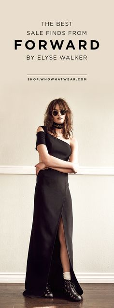 shaggy bangs, round sunglasses, neck scarf and a cool on-shoulder maxi dress.