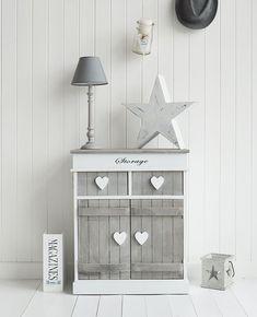 Grey and white hall shabby chic storage furniture #shabbychicdressersgrey