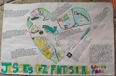 "Here's a student sample for our 3rd option to our ""Presenting Me!"" trilogy of Know-me-better murals. They are perfect projects to decorate the doorway outside your classroom, because they give students a sense of ownership when they see their ""Heart Parks"" right outside your door.  7th grader Jesse designed a water park with 8 attractions.  Click the image to zoom in on her descriptions. Link to this lesson online here…"