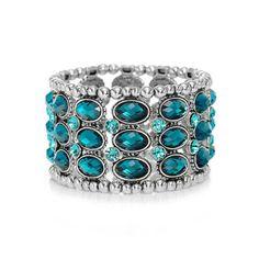 New popular Retro Style Bracelet Jewelry Vintage Crystal Beaded Stretch Bracelet Wristband Silver