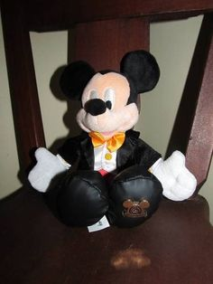 "Walt Disney World Plush Mickey Mouse Tuxedo 10"" Tall Baby Safe Lovey WDW Plate | eBay"