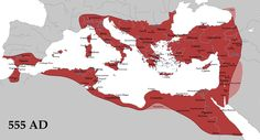 The byzantine empire at 555 AD, at its greatest extent, following the last of Justinian's conquests in southern Spain. It is often said that Justinian's gains were illusory and did not last. In actual fact, although the Spanish province was quickly lost, Byzantine North Africa was held for over 200 years, and the East Romans were not ejected from southern Italy until the eleventh century, 550 years after Belisarius' and Narses' victory over the Goths.