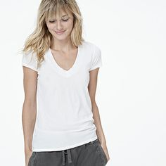 Shop WOMEN - SHORT SLEEVE T-SHIRTS at James Perse - Los Angeles  White T shirts never go out of style!  I personally love V-neck ones the best as it is more flattering for my body type...