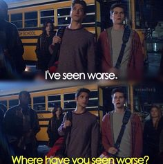 Teen Wolf Scott and Stiles.Love this episode,really shows the friendship that Scott and Stiles have. Teen Wolf Scott, Teen Wolf Dylan, Teen Wolf Stiles, Dylan O'brien, Teen Wolf Quotes, Teen Wolf Funny, Teen Wolf Season 3, Teen Tv, Wolf Stuff