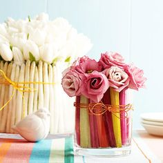 CUTE centerpiece idea from Ladies' Home Journal! Veggies can be beautiful too! Celery Centerpiece with roses is great for spring.
