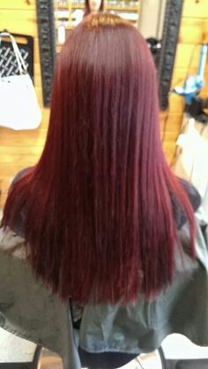 Beautiful Deep Red Hair Redken @Roots Hair Design Hair by Ashley Winters