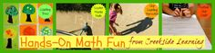 Skip counting hopscotch, skip counting football, counting tree craft, doing math on your scooter, etc.  Hands-on math ideas.