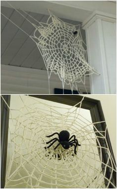 Crocheted spider web  I would just use a already made doily & pull & stretch the outer edges