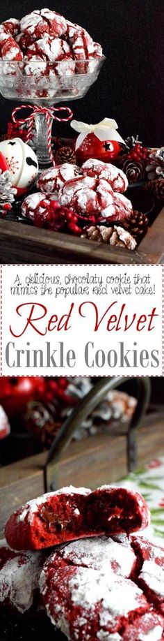 Red Velvet Crinkle Cookies - A delicious red cookie dough is rolled into powdered sugar to create these puffy, moist, Red Velvet Crinkle Cookies – the red and white lends itself well to holiday baking! Holiday Baking, Christmas Desserts, Christmas Treats, Christmas Baking, Christmas Cookies, Christmas Recipes, Christmas Candy, Red Velvet Crinkles, Red Velvet Crinkle Cookies