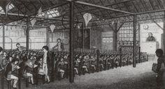 Ensino múto (Método Lancaster). Sala de aula, 1811.