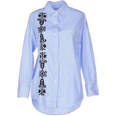 Pramada Shirt ($190) ❤ liked on Polyvore featuring tops, sky blue, blue long sleeve shirt, striped shirt, striped top, stripe shirt and cotton shirts
