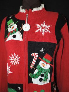 red snowman by cricketcapers Red Sweaters, Holiday Sweaters, Snowman Images, Tacky Christmas Sweater, Felt Snowman, Being Ugly, Candy Canes, Quilts, Handmade