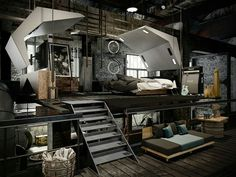 Ceilings are a good way to help free up space in one loft bedroom. A loft works in any bedroom, whether it's a home or a dormitory Industrial Bedroom Design, Industrial Interiors, Industrial House, Interior Design Living Room, Industrial Lighting, Modern Industrial, Industrial Apartment, Industrial Farmhouse, Vintage Lighting
