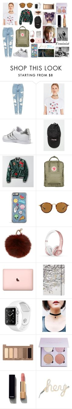 """""""Cool girl"""" by lilwade2 ❤ liked on Polyvore featuring Topshop, Truly Madly Deeply, adidas Originals, American Eagle Outfitters, Fjällräven, Ray-Ban, Yves Salomon, Beats by Dr. Dre, Go Stationery and Urban Decay"""