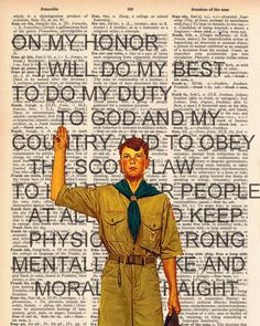 Vintage Dictionary Scouting Oath Print - American Scouts plus FREE 5x7 monogram