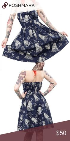 Sourpuss Clothing Nautical OctopusRetro Pinupdress New with tags.  Size medium adorable walk the plank Blue and Grey pin up halter 50s dress!  Love eeet! Sourpuss Clothing Dresses