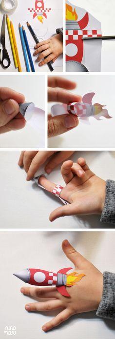 Tutorial y plantilla Cohete de papel / Rocket Finger Puppet by Ninomaru