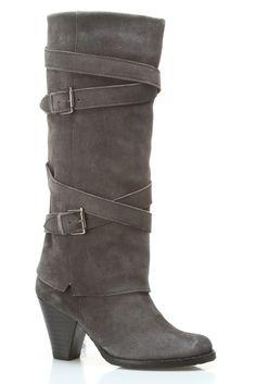 Gray Wraparound Belt Boot