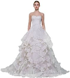 JoyVany Pleat Lace Bridal Gowns Princess A line Ruffles Tiered Wedding Dresses 2016 Ivory Size 18W >>> Continue to the product at the image link.