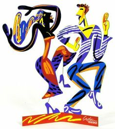"""Dancers Pop Art Metal Sculpture By David Gerstein by Most Original Gifts & Jewelry. $161.00. Signed free standing metal sculpture. Each side is hand painted by Israeli artist David Gerstein. Approximately 13"""" X 11"""". Serigraph on cutout steel two sided sculpture. The Dancers are an energy filled free standing sculpture by David Gerstein. Using his signature silk screen on metal technique, Gerstein creates a three dimensional sculpture with movement and appeal. The """"Dancers"""" is ..."""