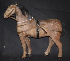 Antique Horse Doll Toy  Wood Pull Toy  Papier Mache