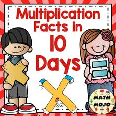 Multiplication Facts: Mastery in 10 Days - Mastering multiplication facts does not have to an overwhelming challenge! Help your students master them in 10 days with this program. It focuses on making mastering multiplication facts manageable by limiting the focus to 3 facts per day for 10 days.