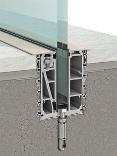Sistema de fijación aluminio / de barandilla / para panel / perfiles de fijación CU Clear glass