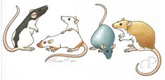 morumoto: Drawing of some rats I did for an ad in a rat show schedule.