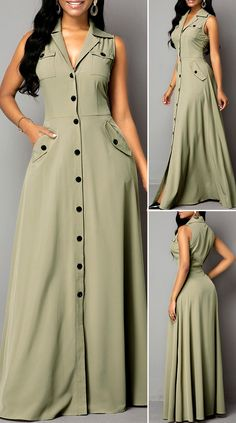 Sleeveless Pocket Button Up Maxi Dress HOT SALES beautiful dresses, pretty. - Sleeveless Pocket Button Up Maxi Dress HOT SALES beautiful dresses, pretty dresses, holiday f - Stylish Dresses, Elegant Dresses, Pretty Dresses, Sexy Dresses, Beautiful Dresses, Dress Outfits, Casual Dresses, Summer Dresses, Formal Dresses