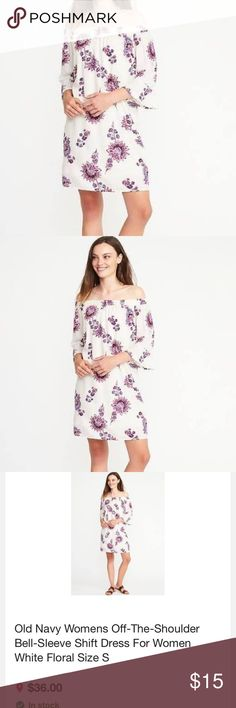 Old Navy Womens Off-The-Shoulder Bell-Sleeve Shift So cute! Online exclusive and still available. Worn once and washed. Elasticized off-the-shoulder neckline. Long bell sleeves. Soft, drapey woven rayon. Shift silhouette. White Floral design, includes silky tricot lining (100% polyester). Relaxed fit through body. Dress hits above knee. viscose rayon 100% Old Navy Dresses Mini
