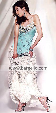 Beautiful Turquoise Unze, pale turquoise crepe silk spaghetti strap top, off white banarsi crinkle chiffon ALine Skirt with  layered crinkle chiffon, turquoise crinkle chiffon dupatta, made in Pakistan, $357.95