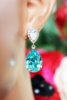 Turquoise Crystal Drop Wedding Earrings by AuroraJewelryBox