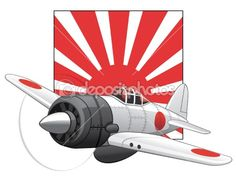 japanese rising sun flag   Japanese WW2 plane and rising sun flag   Stock Vector © Julia ...