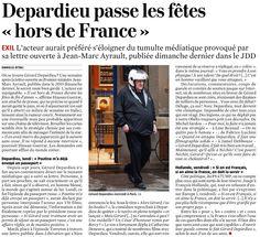 """Sinon, Depardieu passe les fêtes """"hors de France"""""""