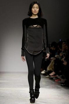#IsabelMarant #RTWFW2013 #ParisFashionWeek2013 shouldered sheer knit/silk sweater with a peekaboo opening at nipple level was highly talked about for it's on edgy yet somewhat sophisticated look