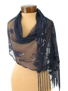 Navy Blue Embroidered Tulle Fringed Evening Wrap Shawl