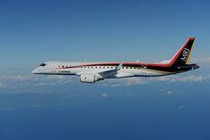 MRJ、飛行試験中の写真 遠くに富士山も