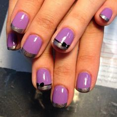 purple nail art with bowknot