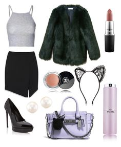 """Ariana Grande inspired outfit"" by geekyginger ❤ liked on Polyvore featuring Chanel, Yves Saint Laurent, Glamorous, Coach, River Island, MAC Cosmetics, ArianaGrande, ari and ScreamQueens"