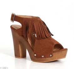 City Classified Geisha Clog Heels in Cognac