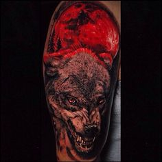 My first tattoo. Wolf with blood moon. Done by Ben Ochoa out of Black Anchor Collective in Hesperia,CA. - Imgur