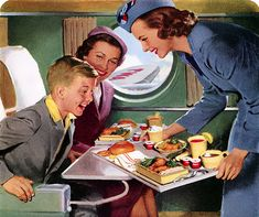 The 60s ... when the airlines served real food....Today?...about 8 salted nuts and a couple of ounces of something to drink