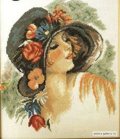 Adapted from Lady With Colorful Floral Bonnet by Harrison Fisher Hand Embroidery Patterns, Ribbon Embroidery, Cross Stitch Embroidery, Cross Stitch Charts, Cross Stitch Designs, Cross Stitch Patterns, Le Point, Hobbies And Crafts, Cross Stitching