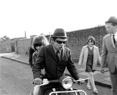 Mods on a scooter, London 1976.