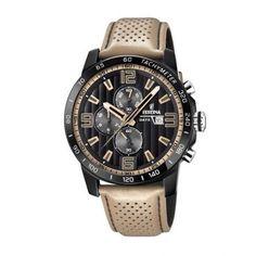 Ανδρικό ρολόι FESTINA F20339/1 με χρονογράφο ταχύμετρο, 24ωρη ένδειξη, ημερομηνία, μαύρο καντράν με μπεζ δερμάτινο λουρί | ΤΣΑΛΔΑΡΗΣ στο Χαλάνδρι #Festina #μαυρο #λουρι #ρολοι Bering, Junghans, Black Stainless Steel, Classic Leather, Watch Sale, Casio Watch, Quartz Watch, Watches For Men, Men's Watches