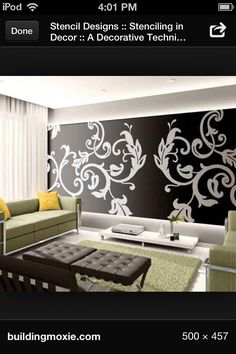Really cool floral wall stencil design !! would love that in blue or yellow