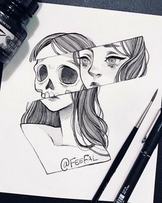 Trendy Ideas For Doodle Art Design Black Pencil Drawing Images, Easy Pencil Drawings, Creepy Drawings, Dark Art Drawings, Unique Drawings, Random Drawings, Drawings Of Snakes, Drawings Of Love, Drawings Of Girls