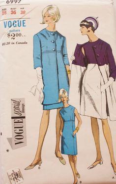 60 s vogue 6997 robe & manteau modèle spécial Design UNCUT w / Label couture Vintage modèle buste 36