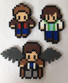Supernatural Perler Bead Figures- Sam, Dean, and Castiel (Team Free Will)